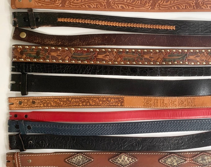 Distressed Leather Belt Strap Vintage Snap On Detachable Genuine Leather Western Rodeo Mens Women's Belts for Buckle