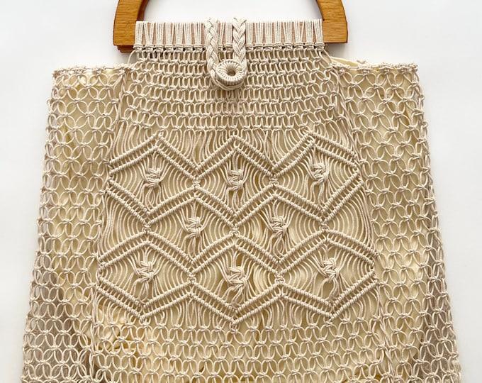 Boho Macrame Bag Purse Handbag with Wood Handles Vintage 70s Immaculate Interior Lining Folk Hippie Beach Summer Bag