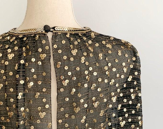 Gold Lurex Sequin Top Open Back Blouson Gathered Elastic Waist Vintage Sheer Black Party Cocktail Shirt Blouse Bracelet Length Cuffs Size XS