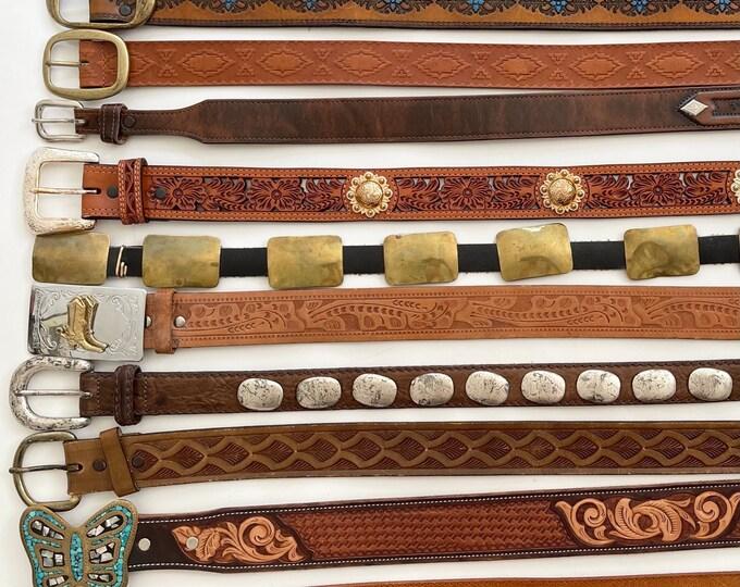 Western Leather Belt Concho Belt Tooled Leather Belt Distressed Brown Black Leather Strap Vintage Leather Goods Mens Womens Belts