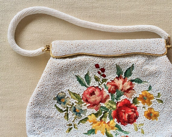 Floral Beaded Purse Clutch Handbag Vintage 50's Floral Flower Needlepoint Wedding Bridal Made in Hong Kong