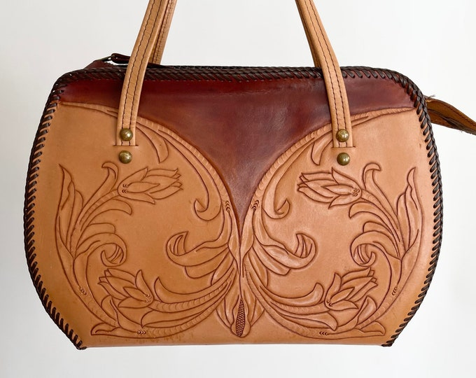 Large Tooled Leather Bag Top Handle Purse Handbag Vintage 60s 70s Two Tone Tan Dark Brown Boho Western Style
