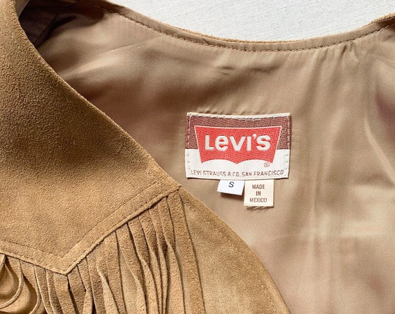Levi's SF Leather Vest with Fringe Vintage 60s 70s Made in Mexico Tan Beige Leather Women's Size XS S