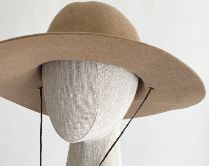 Floppy Felted Wool Hat Cowboy Hat Style Camel Brown Braided Hat Strap Women's Western Hats Purchased in Santa Fe