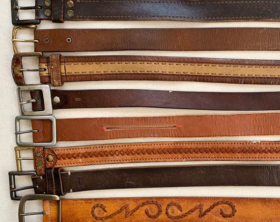 Distressed Brown Leather Belt Belts Vintage Mens Women's Belts Simple Classic Style Western Worn Rustic Rugged Upcycle