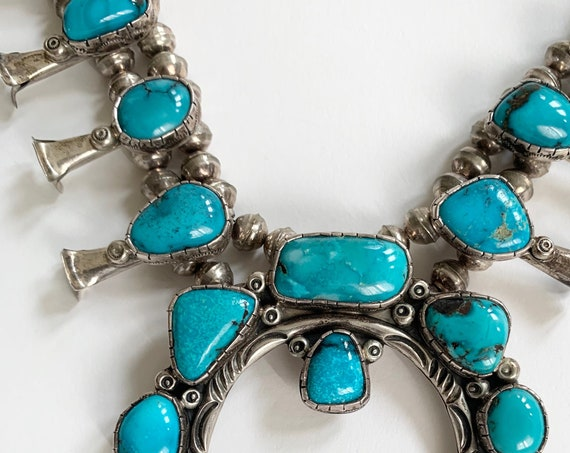Stunning Turquoise Squash Blossom Vintage 60s 70s Native American Navajo Solid and Impeccably Double Strand Bench Bead 122g