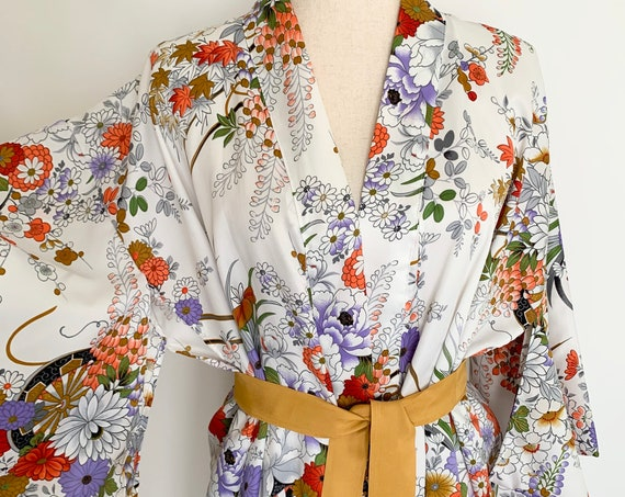 Japanese Floral Kimono Robe Cover Up Pajama Top Mid Century Vintage Made in Japan Glamorous Long Floor Length Ochre Belt