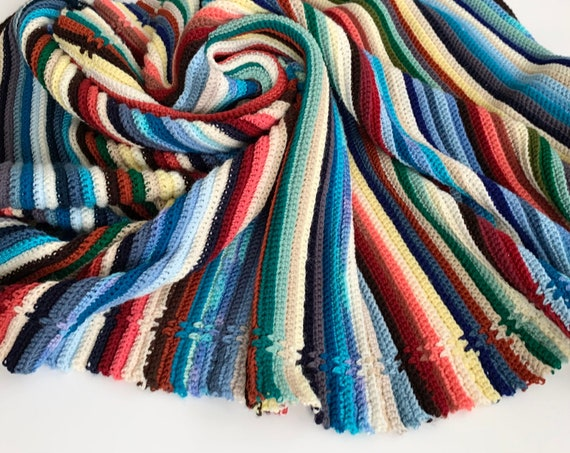 Desert Tone Stripe Blanket Throw Afghan Vintage Hand Knit Handmade Crochet Colorful Multi Color Stripes Blue Beige Winter White