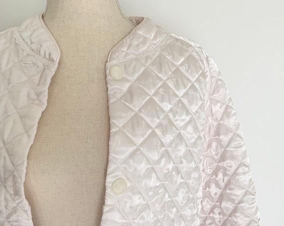 Quilted Satin Smoking Jacket Bed Jacket Pale Ballet Pink Satin Lace Trim Front Pocket Vintage Retro Sleepwear Front Pocket Size S