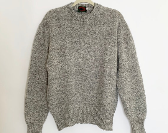 Oversized Marled Wool Sweater Gray Natural White Vintage Boston Traders Minimalist Crew Neck Pullover Sweater Wool Blend Mens L XL
