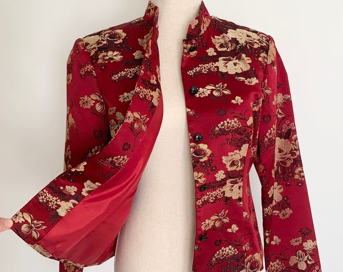 Red Silk Chinese Jacket Vintage JBS Ltd Made in China Cheongsam Style Floral Weave Fully Lined Women's Tops Size XS S