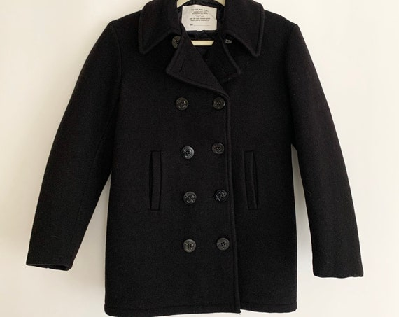 Black Wool Peacoat Navy Military Coat Made in USA Very Heavy Wool Pea Coat Quilted Lining Size 32 Womens XS