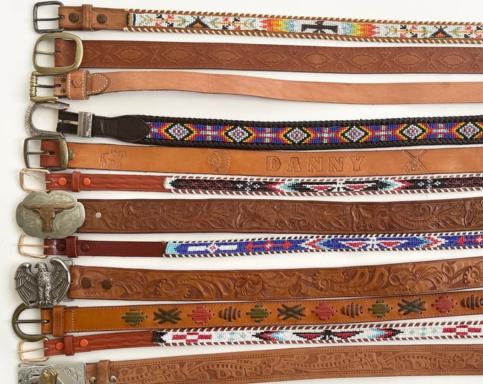 Child Western Leather Belt Boy Girl Kid Womens XXS 26 28 Size Belts Tooled Thunderbird Beaded Cowboy Buckles Brown Black Strap