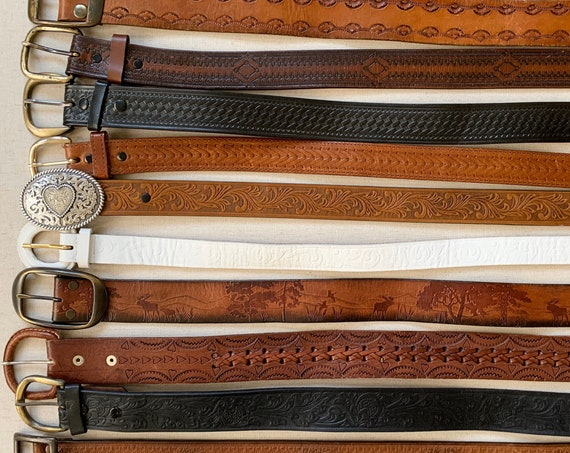 Vintage Tooled Leather Belt Distressed Leather Goods Brown Belt Strap Buckle Western Mens Women's Belts