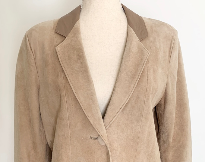 Oversized Beige Suede Jacket Made in New Zealand Vintage 80s Skin Things Neutral Contrast Leather Lapel Size S