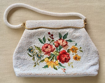 White Beaded Purse Clutch Handbag Vintage 50's Floral Flower Needlepoint Wedding Bridal Made in Hong Kong