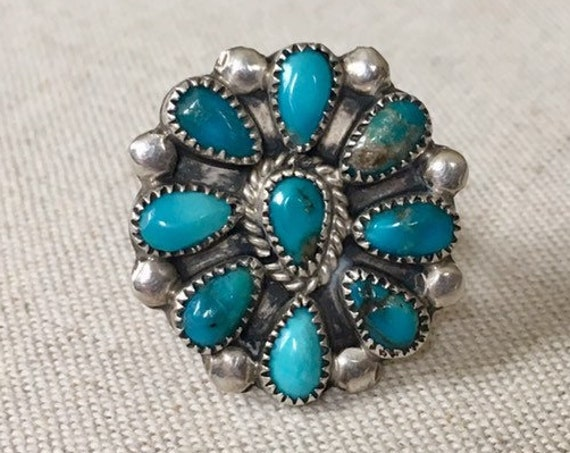 Turquoise Cluster Ring Vintage Native American Petit Point Needle Point Sterling Silver Radial Flower Oval Signed RB Size 5.25