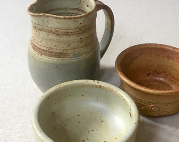 Pottery Pitcher Bowl Set Vase Creamer Vintage Speckled Beige Glazed Ceramic Artist Signed Excellent Condition