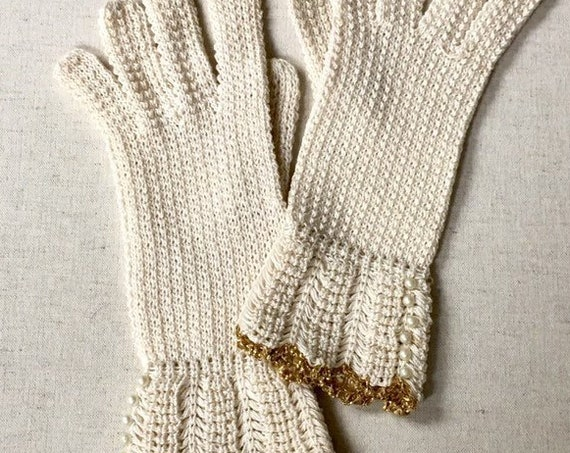 Short Crochet Gloves Ivory White Vintage Wedding Bridal Handmade Gold Lurex Trim Pearl Detail