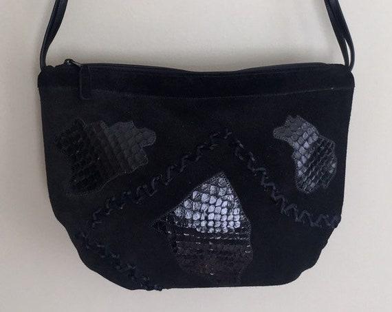 Black Snakeskin Suede Purse Handbag Vintage 80s Carlos Falchi Western Reptile Patchwork