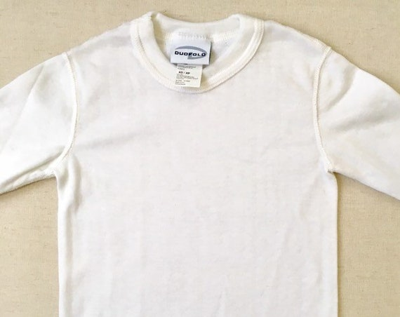 Kids Youth Thermal Shirt Long Underwear Top Vintage NOS Duofold Layering Undershirt White Size XS 4 5