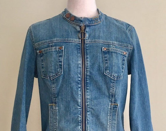 Calvin Klein Denim Jacket Vintage 90s Blue Jean Moto Biker Calvin Klein Vintage Zip Front Size S