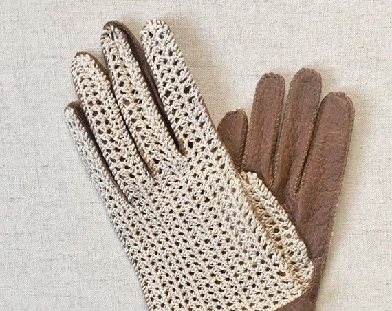 Crochet Leather Driving Gloves Vintage NOS with Original Tags Handmade Brown Leather White Crochet