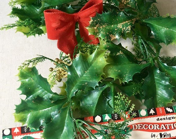 "Retro Plastic Greenery Garland Swag Long 9"" Mid Century Vintage 50s Gold Glitter Holly Berries Christmas Holiday Decor"