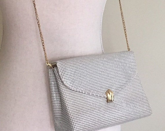 Chain Mail Purse Whiting and Davis Vintage 80s Whiting and Davis Ivory White Metal Mesh Gold Chain Strap Glamorous Evening Bag