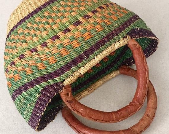 70s Straw Basket Purse Vintage Leather Wrapped Handles Boho Market Bag Tote Beige Orange Green Weave Brown