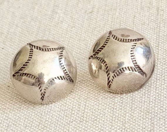 Hand Stamped Earrings Sterling Silver Vintage Native American Navajo Round Concho Style Studs