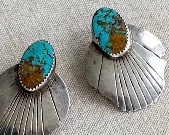 """Big Oval Turquoise Earrings Vintage Native American Navajo Sterling Silver Floral Scalloped Edge Long 1.5"""" Length Statement Earrings"""