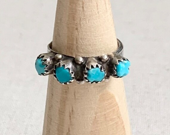Rustic Turquoise Zuni Ring Band Vintage Native American Zuni Petit Point Sterling Silver Stackable Size 6