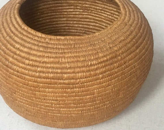 Native American Basket Bowl Handmade Catchall Circle Round Coil Baskets Vintage Antique Boho Home Decor