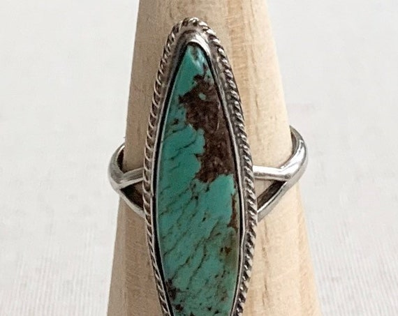 Long Thin Turquoise Ring Vintage Native American Navajo Sterling Silver Royston Turquoise Size 8