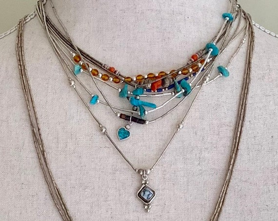 Liquid Silver Heishi Necklace Vintage Native American Beaded Necklaces Sterling Silver Turquoise Coral Dainty Thin