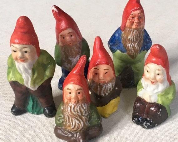 Vintage Gnome Elf Figurine Set of 6 Made in Japan Vintage Mid Century Christmas Holiday Terrarium Fairy Garden Decor