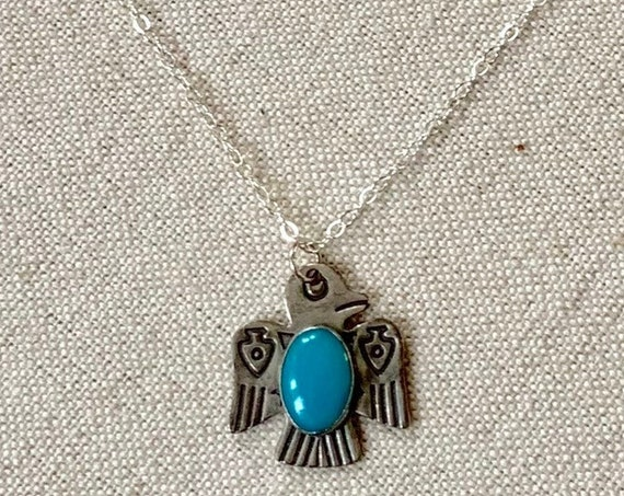 Tiny Turquoise Thunderbird Pendant Necklace Vintage Fred Harvey Era Sterling Silver Native American Stamped Sterling Dainty Delicate