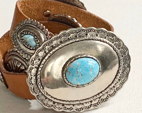 Western Leather Concho Belt Vintage Distressed Brown Leather Faux Turquoise Heavy Solid Weight Women's Belts Size S M