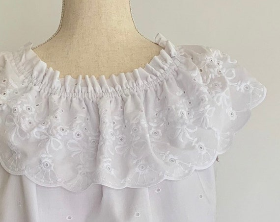 Broderie Anglaise Tunic Top Off Shoulder Cold Shoulder Shirt Vintage White Cotton Summer Size S M