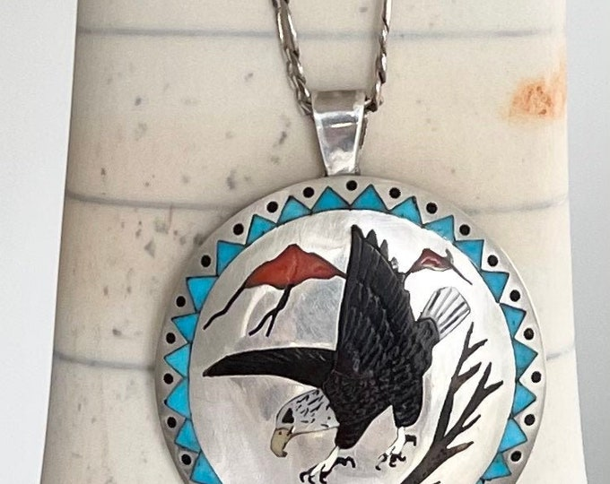 Eagle Turquoise Inlay Pendant Necklace Signed Nancy Haloo NH Vintage Native American Zuni Animal Flush Inlay Sterling Figaro Chain