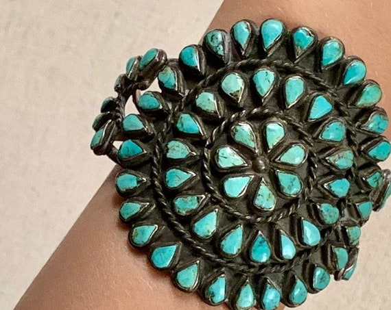 "Huge Turquoise Cluster Bracelet Vintage Old Pawn Native American Needlepoint Radial Flower 2.75"" Wide Heavy 82g Mens Women's Jewelry"
