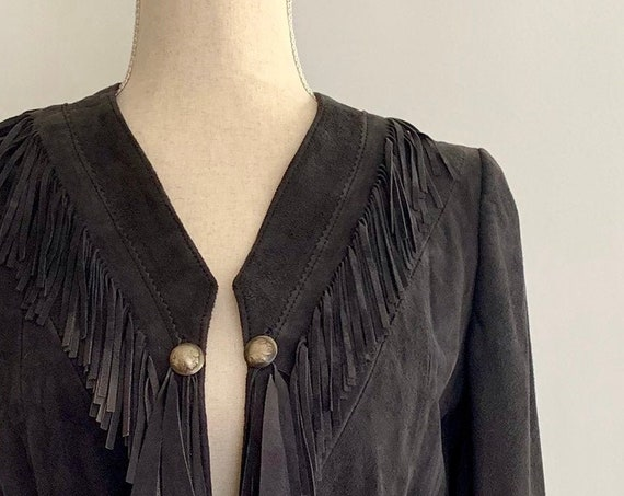 Dark Suede Fringe Jacket Handmade Vintage Outerwear Fringe Neckline and Cuffs Buffalo Nickel Detail Black Brown Hippie Boho Womens XS S