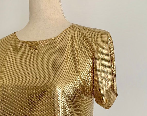 Gold Chain Mail Top Shirt Vintage Whiting and Davis Heavy Metal Mesh Cap Sleeve Disco Glam Party Cocktail Clubwear