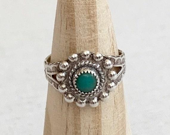 Turquoise Ring Fred Harvey Era Bead Border Vintage Native American Sterling Silver Stamped Split Shank Band Size 5.25
