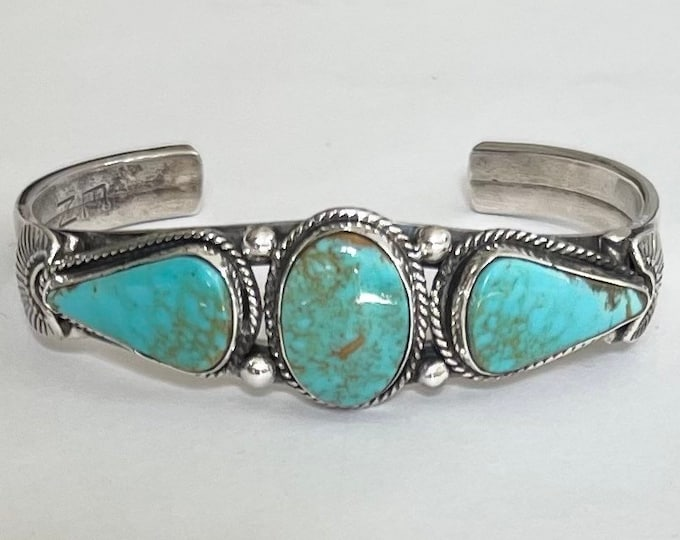 Elvis Nelson Turquoise Cuff Bracelet Vintage Native American Navajo Silversmith Sterling Silver Multi Stone Kings Turquoise