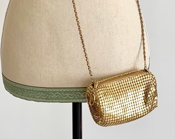 Tiny Gold Crossbody Purse Chain Mail Vintage 80s Evening Bag Handbag Party Cocktail Glam