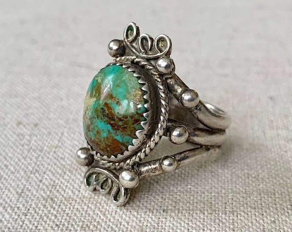 Elegant Royston Turquoise Ring Vintage Native American Navajo Sterling Silver Filagree Bead Border Oval Statement Rings Size 6