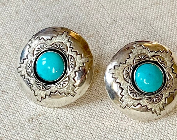 Turquoise Concho Earrings Stamped Sterling Silver Vintage Native American Navajo Round Circle Button Minimalist Artist Signed P