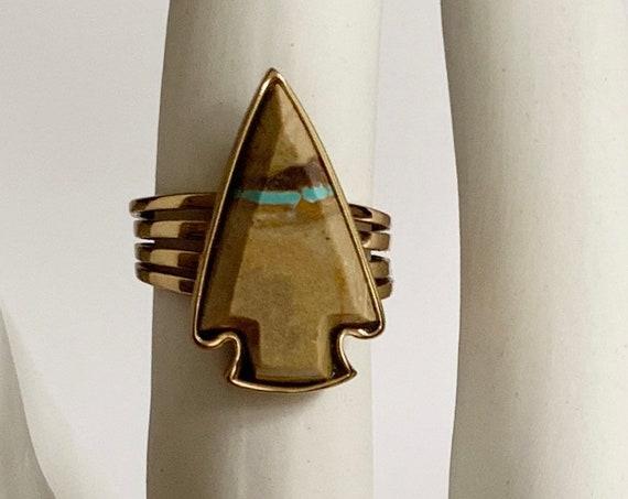 Barse Boulder Turquoise Ring Vintage Designer Signed Natural Stone Arrowhead Gold Tone Finish Ring Size 9.25